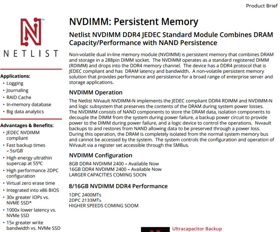 Netlist Inc  - Products - Non Volatile Memory - NVvault DDR4