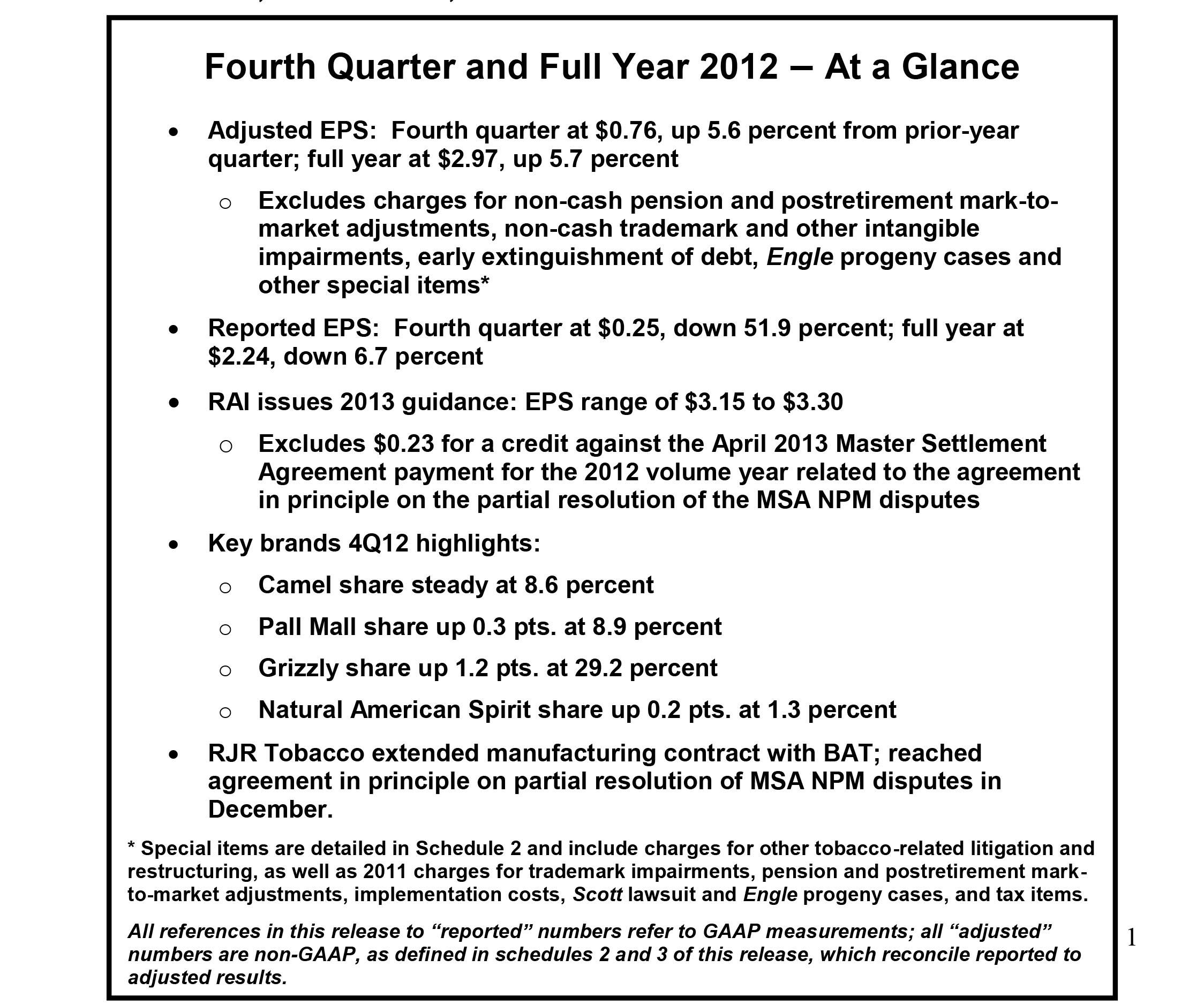 Reynolds american incorporated rai increases 4q12 adjusted rai increases 4q12 adjusted earnings on resilient operating performance platinumwayz