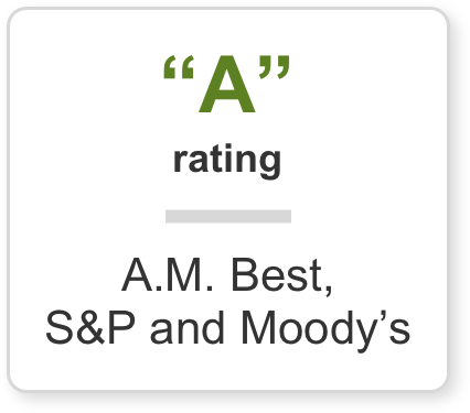 'A' Rated by, AM Best, S&P and Moody's
