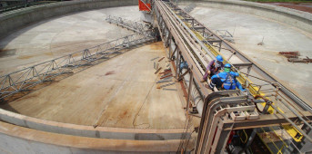 Ore thickener under maintenance