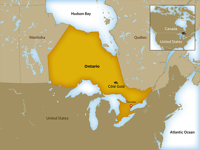 Timmins Ontario Map On Ontario Canada IAMGOLD Corporation   Operations   Development Projects   Côté